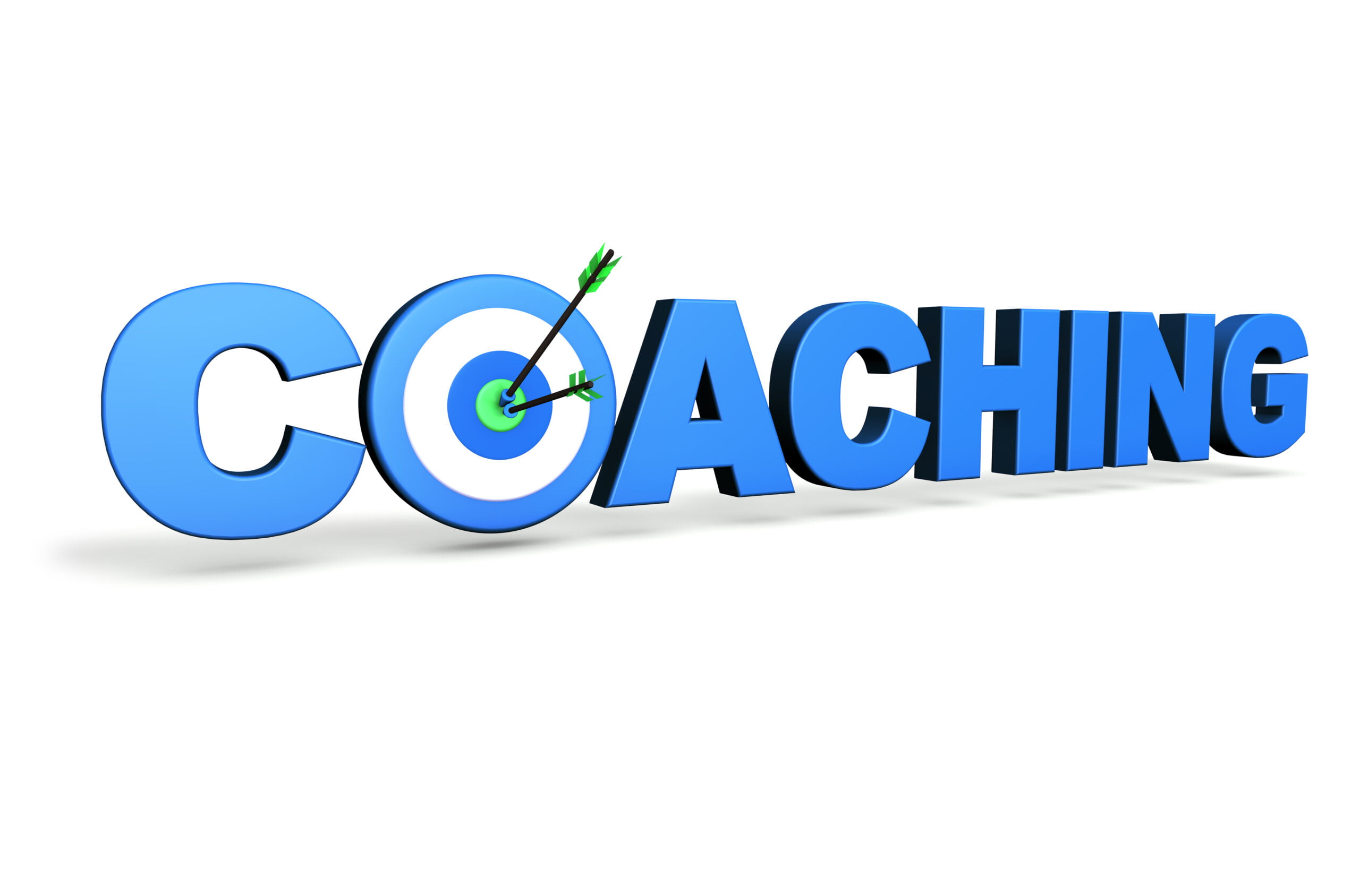 Hit the mark and business goals concept with blue coaching sign, target and arrows on white background.