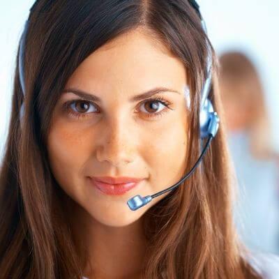 female customer service representative with a headset