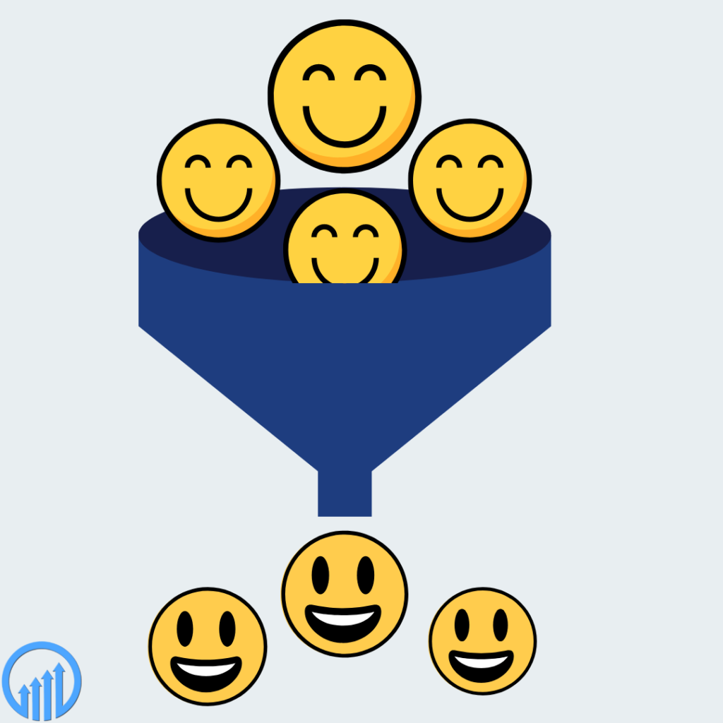 happy faces moving through a funnel